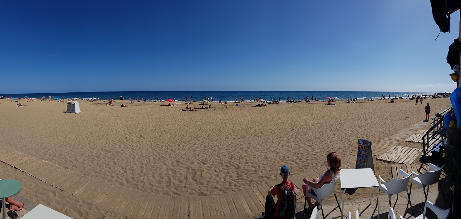 Panorama of Maspalomas beach, from the Bar